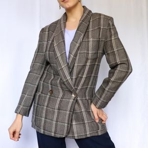 Vintage gray tan double breasted wool plaid blazer